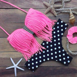 Wholesale tassel swimsuit wholesale - Fashion Bandeau Tassel Bikini Padded Push up Bra Swimsuit Bathing Suit Swimwear