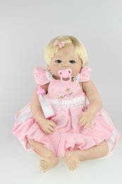 Wholesale Real Love Doll Girls - 58CM silicone reborn baby dolls real cute girls rooted blond hair baby alive boneca brinquedos girls love gift