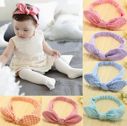 Wholesale Lace Rabbit Ears Headband - Cute Baby rabbit ear Headbands Kids Infant Linen Bow Dot Striped hair headdress Children Hair Accessories Christmas Party Gift