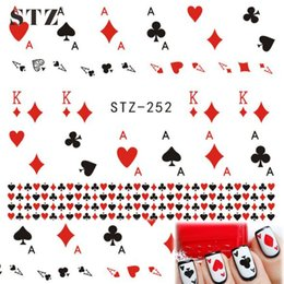 "Wholesale Cute Nail Water Stickers - Wholesale- STZ 1 Sheets DIY Cute Playing Card "" A, K"" Red Heart Water Transfer Sticker Decals for Nail Art Temporary Tattoos STZ252"