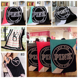 Wholesale Pink Beaches - VS Pink Letter Blanket 130*150cm Soft Coral Velvet Beach Towel Blankets Air Conditioning Rugs Comfortable Carpet OOA2729