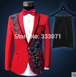 Wholesale Grooming Clothes - Wholesale-2016 Hot Custom made Men's Suits Black Red applique Groom Tuxedos Performance clothing Wedding Party Prom Blazer