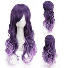 Wholesale Harajuku Wig Purple - High Temperature Wire Anime Cos Wig Harajuku Fashion Purple Gradient Curly Hair Lot Drop Shipping