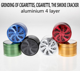Wholesale Grinder Hand Muller - 4-layers Dia 63mm Aluminum Flower Shape With Clear Window Herbal Herb Tobacco Grinder Hand Muller Smoke Cigar Magnetic mix-color