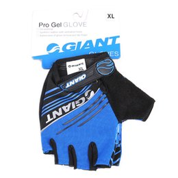 Wholesale Half Gloves Giant - Bicycle GIANT Grey Half Finger Gloves Breathable Slip Glove Size M-XL Cycling Red   Grey   Blue