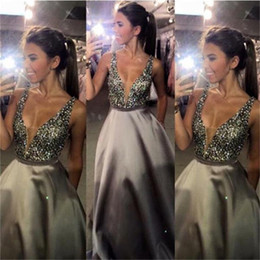 Wholesale Grey Sequin Long Dress - Grey Deep V-Neck Long Prom Dresses A Line Satin Beaded Floor Length Prom Gowns Formal Evening Dresses Sexy
