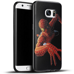 Wholesale Silicone Man Iron - For Samsung Galaxy S7 edge Embossed 3D Paint Soft TPU Case Spiderman Avengers Superman Captain America Iron Man Cartoon Cover Silicone