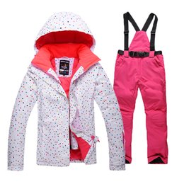 Wholesale Women S Snowboard Pants - Wholesale-Free Shopping 2016 newest winter women's ski suit waterproof snow jackets pants sets thicken breathable snowboard clothing