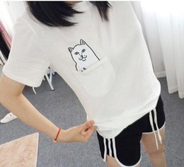 Wholesale Lovers Cats - 2016 New Fashion White Pocket Harajuku Style T Shirts Wild Cat Lovers Big Yards Women Wear Short Sleeve Casual T-Shirt
