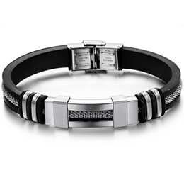 Wholesale Mens Bangle Bracelet Rubber - Wholesale-2016 New Fashion Jewelry Mens Chain Link Wristband Bangle Rubber Stainless Steel Bracelets For Man Wholesale Never Fade
