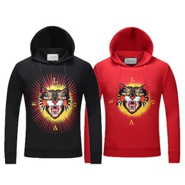 Wholesale Luxury Fleece Jackets - 2017 Italy Luxury brand perfect quality Medusa Tiger printing Hoodies jacket Men's casual Sportswear sweater Fleece Hoodie Men clothing