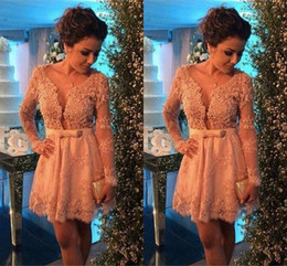 Wholesale Cute Yellow Dresses For Women - Cute Pink Bowknot Lace Short Cocktail Dress with Beadings Long Sleeve Homecoming Dresses for Women Occasion Dresses Party Dresses