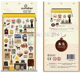 Wholesale Wholesale Pvc Sign Posts - New Korea 3D Coffee Story PVC Diary Sticker Multifunction Cartoon DIY Phone Sticker Sign post , free shipping
