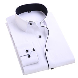 Wholesale Mens Gold Dress Shirts - Wholesale-Summer 2016 Mens Long-sleeved White-Solid Dress Shirt Cotton Blend Business Casual Classic-fit Unelastic Soft Formal Shirts