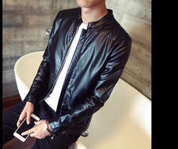 Wholesale Best Leather Jackets Sell - 2016 Spring Autumn New Fashion Man Leather Thin Jacket Best Selling Teenagers Slim Long Sleeve Coat PU Leather Jacket L13