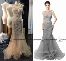 Wholesale Brown Open Jacket Women - Open Back Gray Champagne Mermaid Evening Dresses Beading 2016 Real Photo sparkly Sheer Neck Women Prom Gowns Long robe de soiree LX006