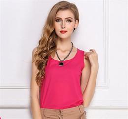 Wholesale Girl Vest Shirt Candy Summer - Summer Autumn Women Girls Short Racerback Tank Tops Chiffon Candy Colors Camis Easy Matching Minis Sleeveless Vest Waistcoat T-Shirt