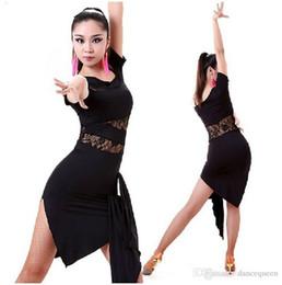 Wholesale Latin Dance Competition Dress Black - 2017 Latin Dance Dress Women Salsa Performance Dresses Competition Dance Costume Cha Cha Samba Rumba Tango Practice Dress Skirt