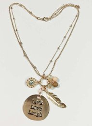 Wholesale Initial Charms Pendant - Rose gold inspirational necklace mixed Live Love Laugh round pave stones two row chains Multi Colours Words Necklace With Charms Gift