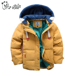 Wholesale Yellow Down Jacket Kids - New Arrival Winter Thicken Boys Down Jackets Removable Hooded Kids Warm Coats Outwear Yellow Red Green Blue Handsome Coats Free Shipping