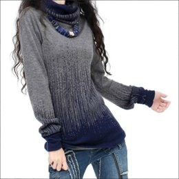 Wholesale Ladies Cashmere Pullover - Women's Autumn Winter Cashmere Turtleneck Sweaters And Pullovers Artkas Women Vintage Gradient Knitted Sweater Lady Warm Jumpers