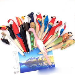 Wholesale Animal Stationary - Handmade Animal carved wood pen Cute creative Flamingo Writing Pen Ball Point Wooden Novelty Gift School Stationary Ballpoint