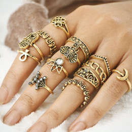 Wholesale White Elephant Charms - Women Beautiful Midi Rings 13Piece set Knuckle Ring sets Elephant Clown Moon Buddha Palm Charms Jewelry Girl Joint Ring Vintage Crystal Ring