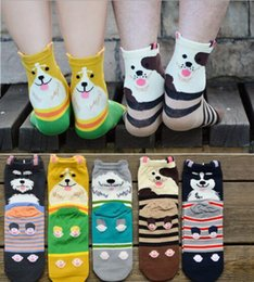 Wholesale Dog Winter Cartoon - Korea Style Stereo Dog Socks Women MEN 100% Cotton Cartoon Socking Lovers Middle tube socks