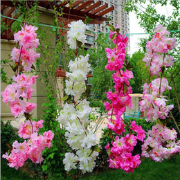 Wholesale Cherry Blossoms Backgrounds - Artificial Cherry blossom Rattan 1.8m Long DIY wedding Wisteria Vine for Home Hotel Background Shop Wall Hanging Decoration
