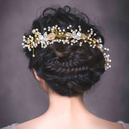 Wholesale Sequin Hair Flowers - Beaded Crystals Wedding Crowns 2016 Bridal Crystal Veil Tiara Crown Headband Hair Accessories Party Wedding Tiara Hot