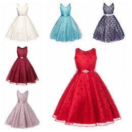 Wholesale Wholesale Christmas Stockings Embroidered - Princess Girl Dress Baby Girls Tulle Flower Party Dress Gown Formal Wedding Dresses free shipping in stock