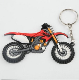 Wholesale Accessories For Motorbikes - Red Green Motorcycle accessories motorbike parts Keyring Keychain Key Chain Pendant For Honda CRF PVC Key Rings motor bicycle autobicycle