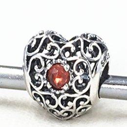 2015 neue 925 Sterling Silber Januar Unterschrift Herz Charm Bead mit Granat passt europäischen Schmuck Armbänder Halskette von Fabrikanten