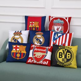 Wholesale Real Madrid Case - 42*42cm Real Madrid Football Pillow Case Personality Football Team Square Cushion Sofa Car Livingroom Bedroom Pillow Covers 17 Style WX-P17