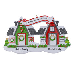 Wholesale holiday party names - Maxora Neihbours House Glossy Christmas Tree Ornaments Free Write Name As Personalized Gifts For Home Holiday Party Decorations