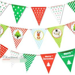 Wholesale Bunting Wholesale - 3 Style Flag Banner Paper Pennant Bunting Garland Christmas Party Decoration Home Ornament Christmas Decorations CCA7877 100set