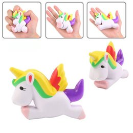 Wholesale Horse Decorations Wholesale - Simulation Flying Unicorn Pony Horse Squishy Toys Slow Rising Squeeze Doll Decompression cellphone backpack straps bag decoration