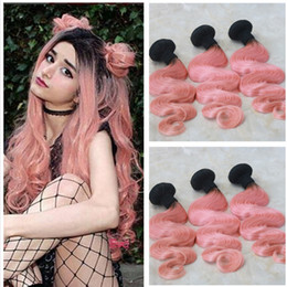 Wholesale Rose Extensions - Rose Gold Ombre Hair Bundles 1B Pink Two Tone Human Hair Weave Brazilian Virgin Body Wave Cheap Hair Extension 8a Grade 3Pcs lot