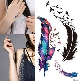 Wholesale Tattoo Color Arms - Women Trendy Waterproof Small Fresh Wild Goose Feather Pattern Tattoo Stickers Photo Color Charming Body Accessories