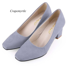 Wholesale Yellow Kitten Heels Wedding - Women Pumps High Heel Shoes Crapemyrtle Casual Solid Color Square Toe Slip On Ladies Rough Heels Shoes Top Quality 1B
