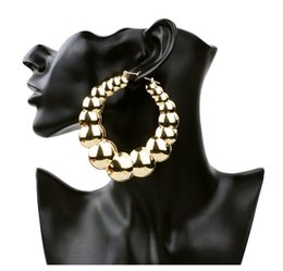 Wholesale Large Gold Circle - Wholesale- European and American Style Large Exaggerated Hoop Earrings Gold Circle Round Retro Punk Bamboo Basketball Iron Jewelry