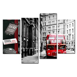 Wholesale london art - Amosi Art-4 Pieces Wall Art Red London Bus In Black And White Paintings For Living Room Decor City Pictures Canvas Print with Wooden Framed
