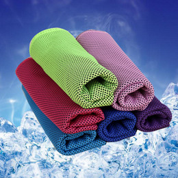 Wholesale Wholesale Towel Fabric - Hot Cooling Towel 35*90cm Double Color Camping Hiking Gym Exercise Workout Ice Fabric Soft Breathable Cool Sports Towel Cool Towel