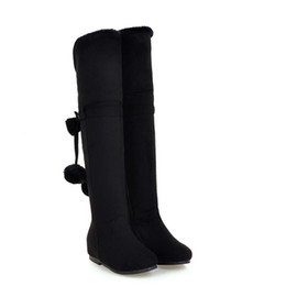 Wholesale Korean Knee High Boots - Korean style Over the Knee boots Women's Round Toes Flush Inside Snow boots Female Flat heel increased Bowties Appliques Boots