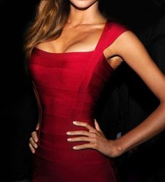 Wholesale Sexy Night Wear Picture - Sexy Bandage V-Neck Cocktail Dresses Short Cap Sleeves Sheath Red Hollow Homecoming Custom Made Women Formal Party Club Celibraty Night Wear