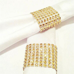 Wholesale Yellow Napkin Rings - Hot Yellow Napkin Ring Rhinestone Mesh Wrap Wedding Banquet Dinner Decor Bow Covers Plastic Ring Napkin buckles 1000pcs IB234