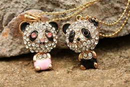 Wholesale Panda Pendant White Gold - Hot Sale Long Silver Gold Alloy Chain Full Zircon Lovely Panda Pendant Necklaces Women Long Sweater Chain Jewelry QW