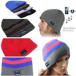 Wholesale Men Soft Hat - Bluetooth Music Hat Soft winter Warm Beanie Cap With Stereo Headphone Headset Speaker Wireless Microphone Headgear Knitted Cap for iphone 7