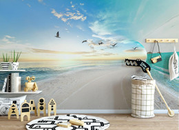 Wholesale Japan Tv Home - European style Simple Sea sky Landscape Background Wall Nonwoven-Wallpaper For Living Room Tv Background home decor