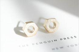 Wholesale vintage geometric earrings - 2016 Stainless Steel Pendientes Hombre Geometric Fine Jewelry Gold Silver Rose Gold Vintage Hexagon Nut Stud Earrings